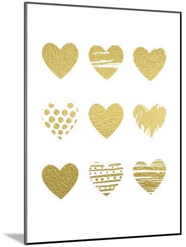 Gold Hearts-Peach & Gold-Mounted Art Print