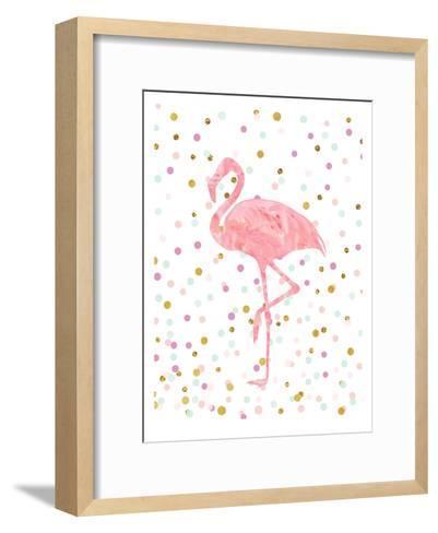 Pink Flamingo on Confetti-Peach & Gold-Framed Art Print