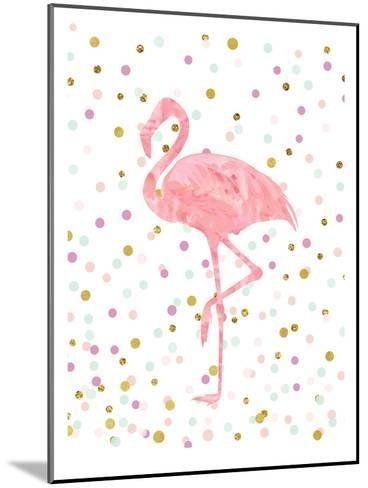 Pink Flamingo on Confetti-Peach & Gold-Mounted Art Print