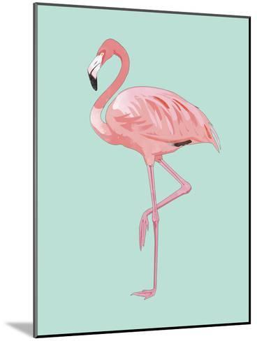 Pink Flamingo-Peach & Gold-Mounted Art Print
