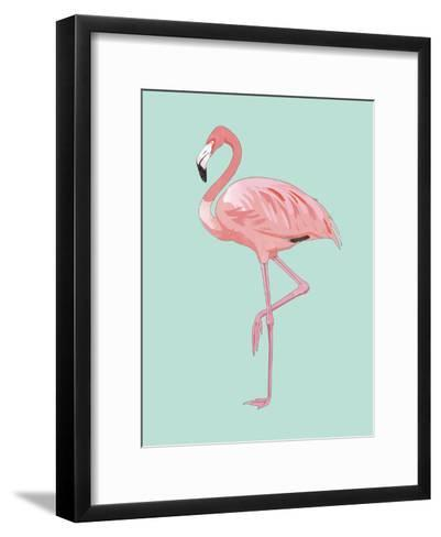 Pink Flamingo-Peach & Gold-Framed Art Print