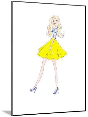 Alison Yellow Skirt- Alison B Illustrations-Mounted Art Print