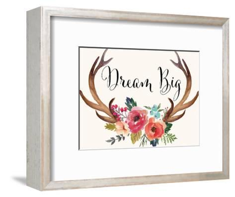 Dream Big Antlers Cream-Amy Brinkman-Framed Art Print