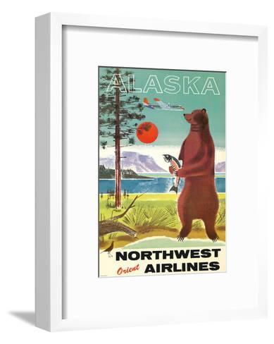 Alaska - Northwest Orient Airlines - Kodiak Alaskan Brown Grizzly Bear-Pacifica Island Art-Framed Art Print