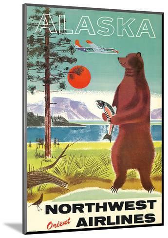 Alaska - Northwest Orient Airlines - Kodiak Alaskan Brown Grizzly Bear-Pacifica Island Art-Mounted Giclee Print