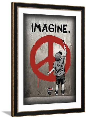 Imagine Peace Graffiti--Framed Art Print