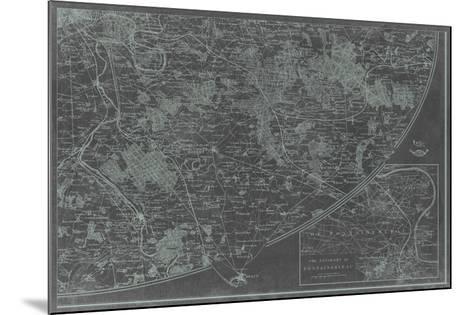Map of Paris Grid IV-Vision Studio-Mounted Giclee Print