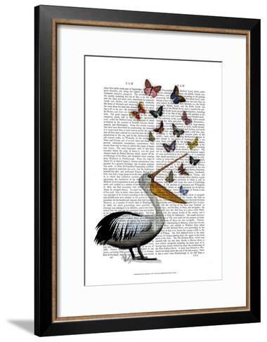Pelican & Butterflies-Fab Funky-Framed Art Print