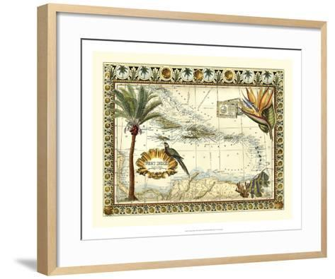 Tropical Map of West Indies-Vision Studio-Framed Art Print