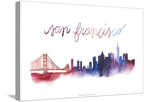 World Cities Skyline I-Grace Popp-Stretched Canvas Print