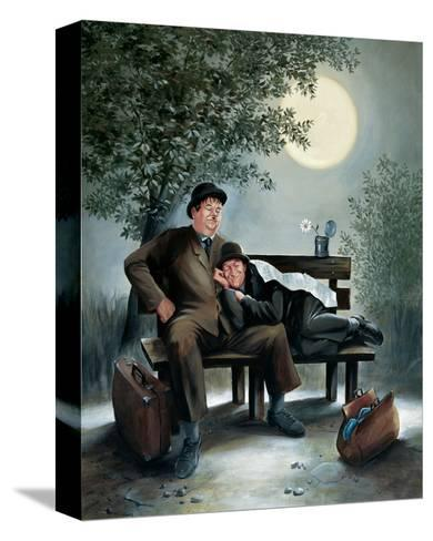 Laurel & Hardy Overnight Bench-Renate Holzner-Stretched Canvas Print