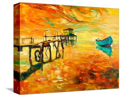Sunset Boat and Jetty Painting--Stretched Canvas Print