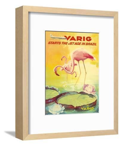 Brazil -Pink Flamingos wade in a Lily Pond - Variq Airlines-Pacifica Island Art-Framed Art Print