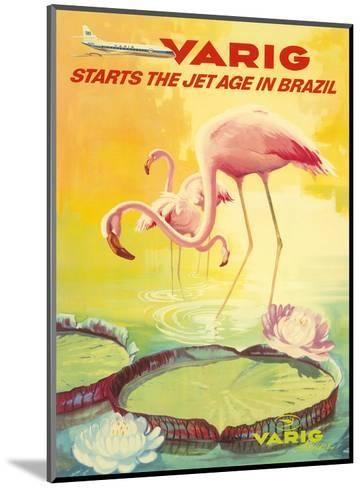 Brazil -Pink Flamingos wade in a Lily Pond - Variq Airlines-Pacifica Island Art-Mounted Art Print