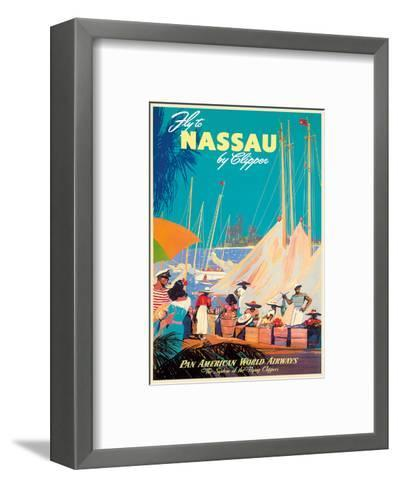 Fly to Nassau by Clipper - New Providence Island, The Bahamas - Pan American World Airways (PAA)-Mark Von Arenburg-Framed Art Print