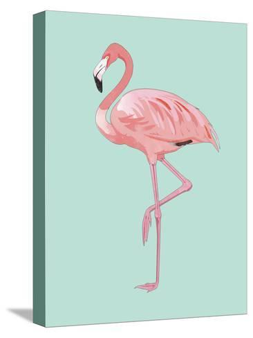 Pink Flamingo-Peach & Gold-Stretched Canvas Print