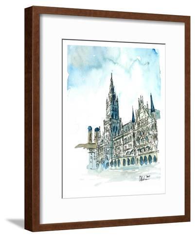 Munich City Hall Aquarell-M Bleichner-Framed Art Print