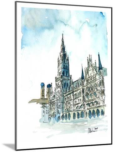 Munich City Hall Aquarell-M Bleichner-Mounted Art Print