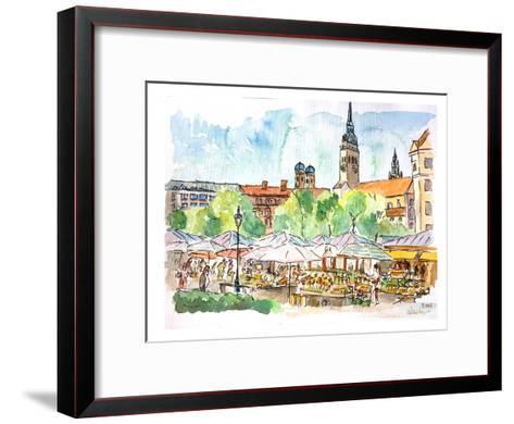 Munich Viktualienmarkt Aquarell-M Bleichner-Framed Art Print