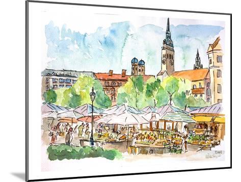 Munich Viktualienmarkt Aquarell-M Bleichner-Mounted Art Print