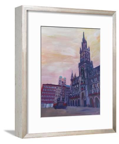 Munich Marienplatz With Church Of Our Lady At Sunset-M Bleichner-Framed Art Print