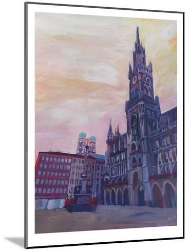 Munich Marienplatz With Church Of Our Lady At Sunset-M Bleichner-Mounted Art Print