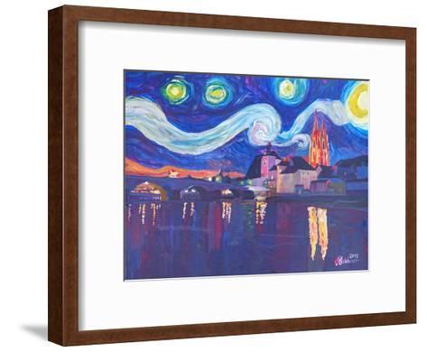 Starry Night In Regensburg-M Bleichner-Framed Art Print
