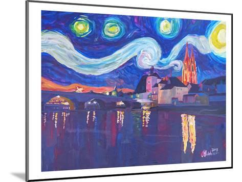 Starry Night In Regensburg-M Bleichner-Mounted Art Print