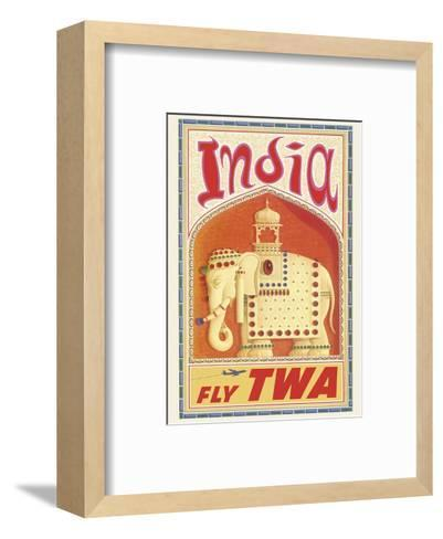 India - Fly TWA (Trans World Airlines) - Bejeweled Indian Elephant with Howdah (Carriage)-David Klein-Framed Art Print