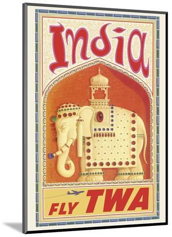 India - Fly TWA (Trans World Airlines) - Bejeweled Indian Elephant with Howdah (Carriage)-David Klein-Mounted Art Print