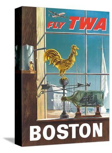 Boston, Massachusetts - Fly TWA (Trans World Airlines) - Ship in a Bottle - Rooster Weathervane-William Ward Beecher-Stretched Canvas Print