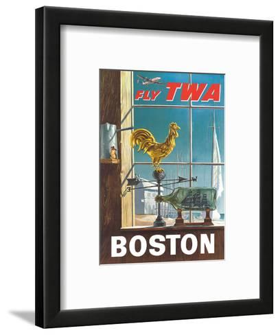 Boston, Massachusetts - Fly TWA (Trans World Airlines) - Ship in a Bottle - Rooster Weathervane-William Ward Beecher-Framed Art Print