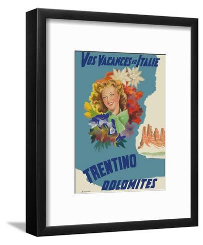 Trentino, Italy - Dolomites Mountain Range - Vos Vacances en Italie (Your Holidays in Italy)-Filippo Romoli-Framed Art Print