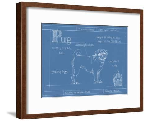 Blueprint Pug-Ethan Harper-Framed Art Print