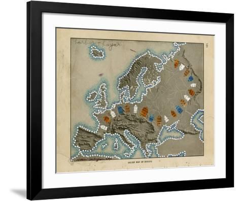 Relief Map of Europe-Nikki Galapon-Framed Art Print