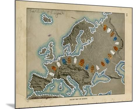 Relief Map of Europe-Nikki Galapon-Mounted Giclee Print
