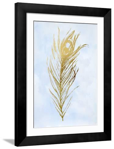 Gold Foil Feather I on Blue-Vision Studio-Framed Art Print