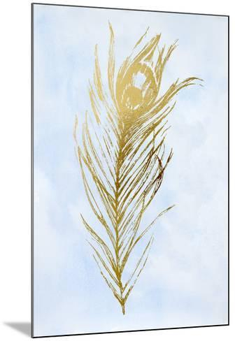 Gold Foil Feather I on Blue-Vision Studio-Mounted Art Print