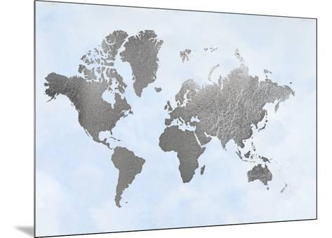 Large Silver Foil World Map on Blue-Jennifer Goldberger-Mounted Art Print