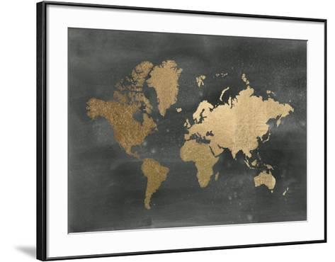 Gold foil world map on black art print by jennifer goldberger art gold foil world map on black jennifer goldberger framed art print gumiabroncs Gallery