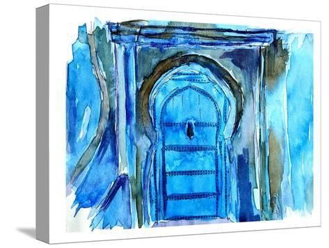 Chefchaouen Morocco Blue Door-M Bleichner-Stretched Canvas Print