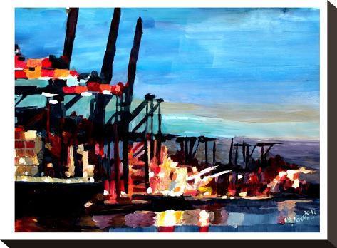 Hamburghafen-M Bleichner-Stretched Canvas Print