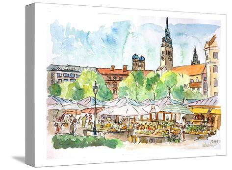 Munich Viktualienmarkt Aquarell-M Bleichner-Stretched Canvas Print