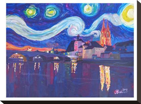Starry Night In Regensburg-M Bleichner-Stretched Canvas Print