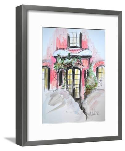 Snowy Bricks in Beacon Hill-Cara Francis-Framed Art Print