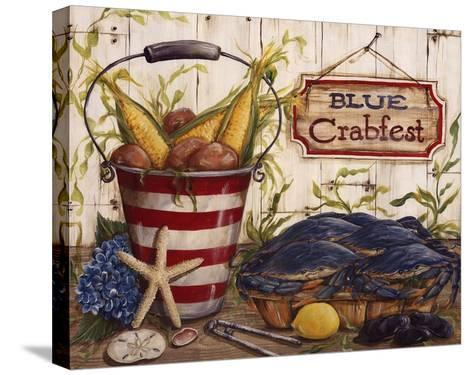 Blue Crabfest-Kate McRostie-Stretched Canvas Print