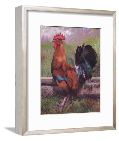 Red And Turquoise Rooster-Nenad Mirkovich-Framed Art Print