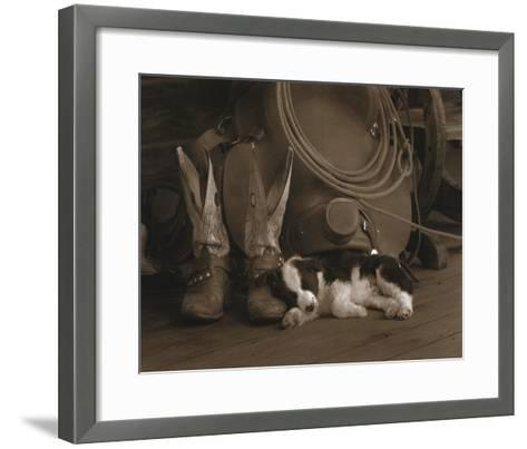 Cowboy Puppy-Robert Dawson-Framed Art Print