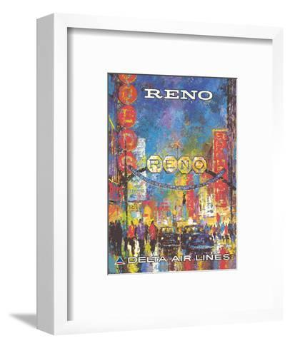 Reno, Nevada - The Biggest Little City in the World - Delta Air Lines-William (Jack) Laycox-Framed Art Print