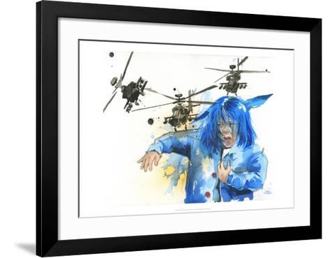 Girl and Helicopters-Lora Zombie-Framed Art Print